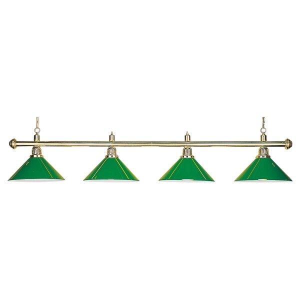 Billardlampe, Evergreen, grün, 4 Schirme, Ø 35 cm, 145 cm
